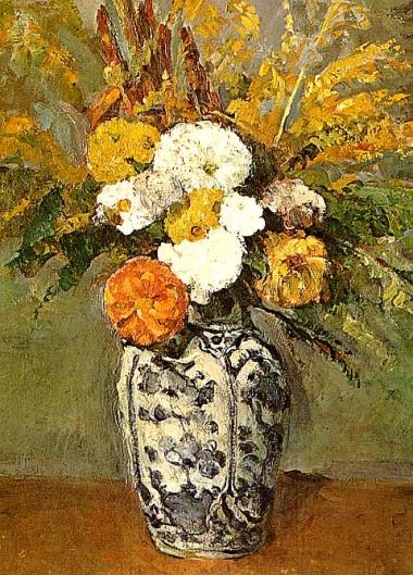デルフトの花瓶に活けられたダリア