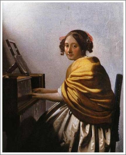 ヴァージナルの前に座る若い女