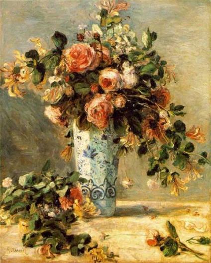 花瓶にはいったバラとジャスミン