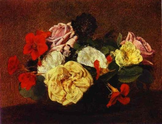 花瓶に活けた薔薇と金蓮花