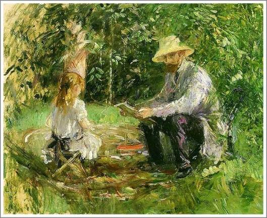 庭のウジェーヌ・マネと娘