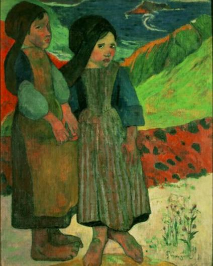 海辺に立つブルターニュの少女たち