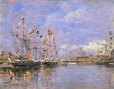 ドービル、旗で飾られた港の船