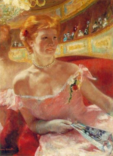 真珠の首飾りをつけた桟敷席のリディア