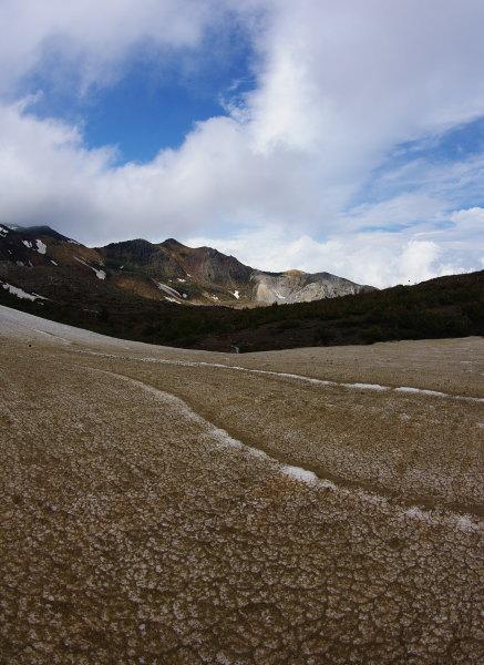 褐色の残雪