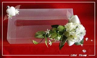 ◆デコレーションティッシュケース・白い造花&ハート◆