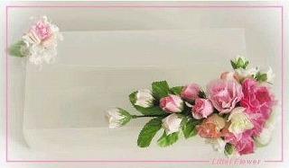 ◆デコレーションティッシュケース・ピンクの薔薇&小花の造花◆