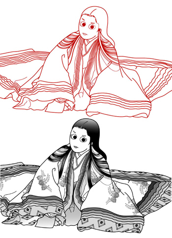 源氏物語「藤壷」のキャラクターイラスト