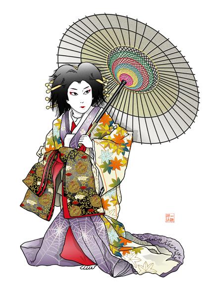 将門 滝夜叉姫 舞踊劇 挿絵 イラスト 歌舞伎