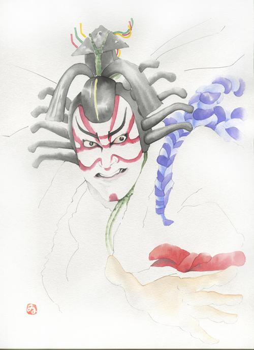 水彩紙 歌舞伎 水彩 暫く