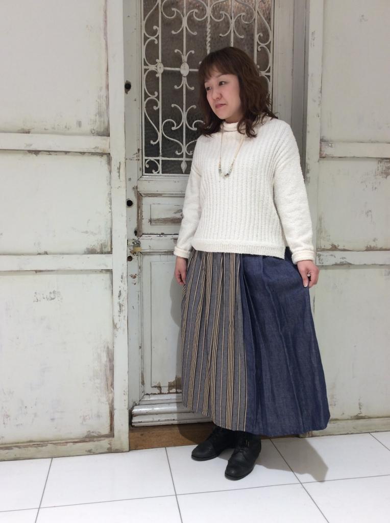 麻のストライプ柄コンビスカート☆