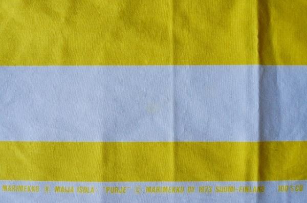 北欧雑貨/北欧/インテリア/雑貨/生地/布/ファブリック/marimekko/マリメッコ/ストライプ/黄色/マイヤイソラ