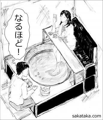 美女 足湯 湯豆腐