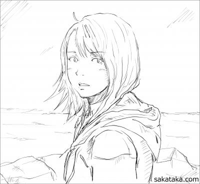 断崖絶壁 少女