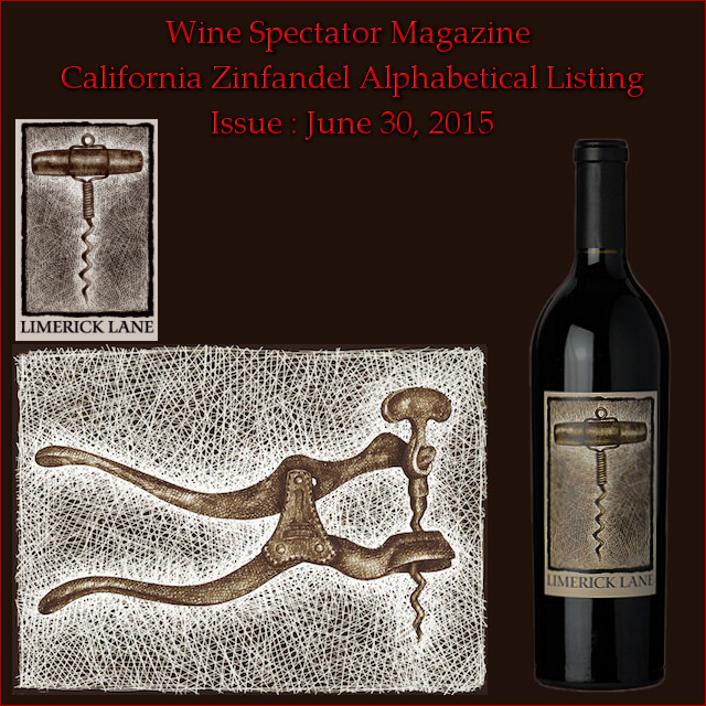 Wine Spectator California Zinfandel Alphabetical Listing 2015 headder