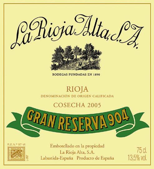 La Rioja Alta S A Gran Reserva 904 -2005 label.jpg