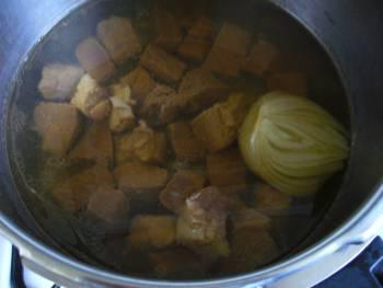 高圧5分加熱したスープ