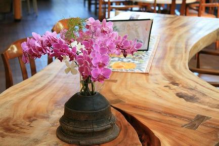 テーブルにらんの花
