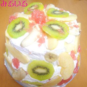 この間言ってたサプライズっていうのが、家に帰ったら、フルーツいっぱいのケーキが出来上がっていたことです!|手作りアクセサリー工房みるいる