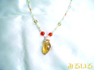 レモンクォーツ&(ペリドット・オレンジアベンチュリン・クリソプレーズ・赤瑪瑙)の光ネックレス 手作りアクセサリー工房みるいる