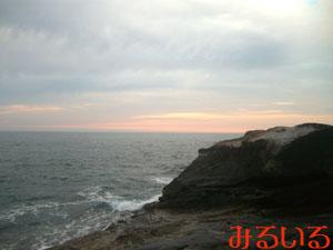 千畳敷と海との境目から見た夕日|手作りアクセサリー工房みるいる