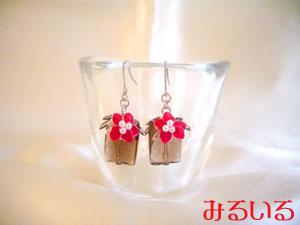 赤いカランコエの花と輝くスモーキークォーツのピアス(イヤリング)|手作りアクセサリー工房みるいる