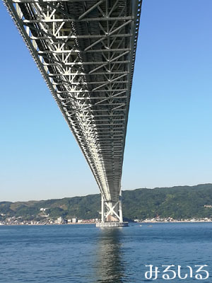 明石海峡大橋のど真ん中の真下|手作りアクセサリー工房みるいる
