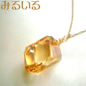 スワロフスキークリスタルゴールデンシャドウのネックレス(K14 Gold filled)|手作りアクセサリー工房みるいる
