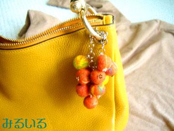 ♪初♪オレンジといろんな色たちのみるいるにじだまのバッグチャーム|手作りアクセサリー工房みるいる