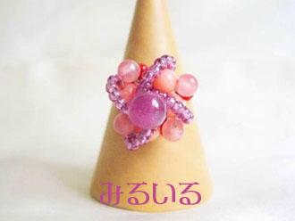 ルビー&インカローズ&珊瑚のクラウンリング|手作りアクセサリー工房みるいる