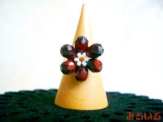 木瓜の花のような〜レッドタイガーアイ〜指輪|手作りアクセサリー工房みるいる
