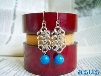 青空、、いや、どこかの国の秘境の湖の色、、それと綺麗なリングのピアス(イヤリング)|手作りアクセサリー工房みるいる