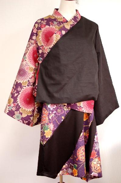 和柄フレア袖羽織 ワンピース