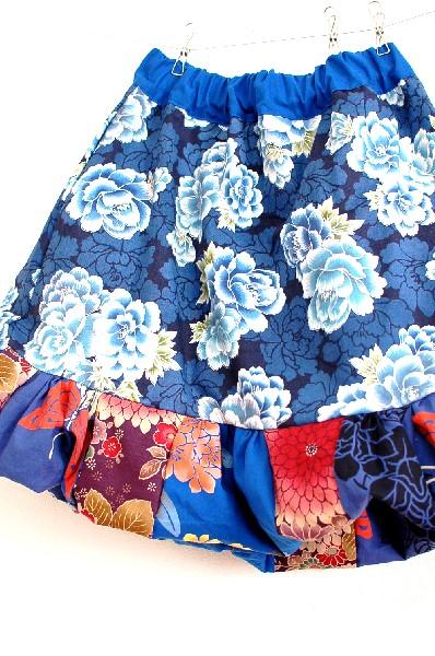 紫藍色ハンドメイド和柄バルーンスカート