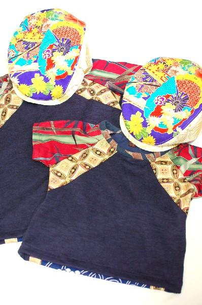 和柄ハンドメイドTシャツ、ハンチング