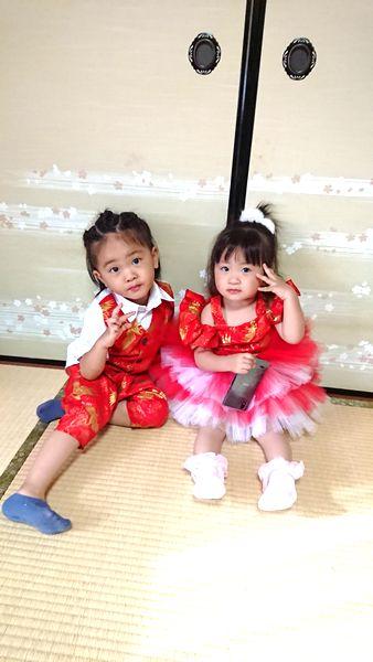 おそろい乾坤式コーデ 和柄手作り子供服