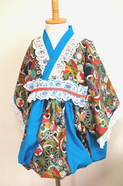 和柄手作り女の子服 ワンピース