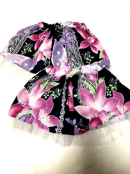 和柄後ろリボン付きスカート
