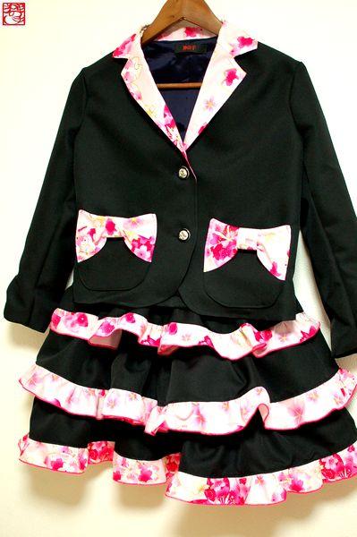 和柄手作り女の子スーツ