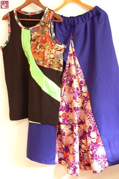 ハンドメイド和柄タンクトップ、袴風ワイドパンツ