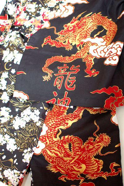 龍と桜和柄キッズ甚平