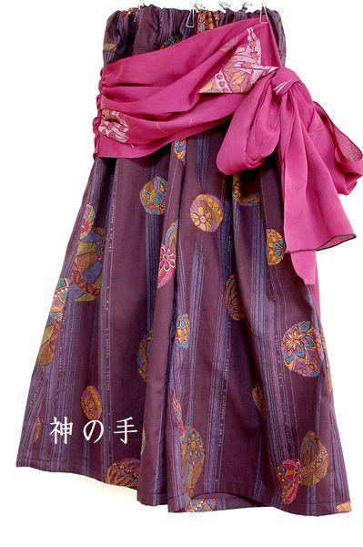 紫腰布付き和柄ワイドパンツ