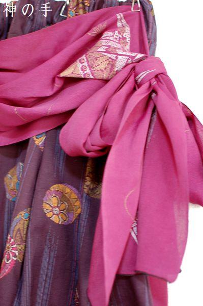 ハンドメイド紫和柄ワイドパンツ