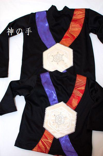 ハンドメイド和柄黒ロンT