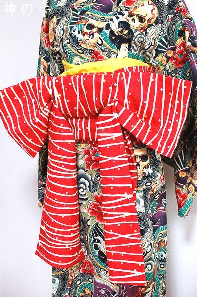 和柄着物&リボン返し帯