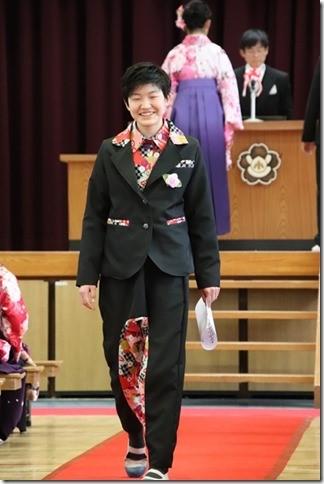 卒業式 和柄サルエルパンツスーツ 神の手