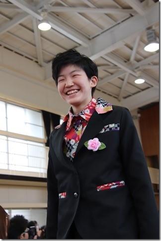 手作り 和柄卒業式 サルエルパンツスーツ