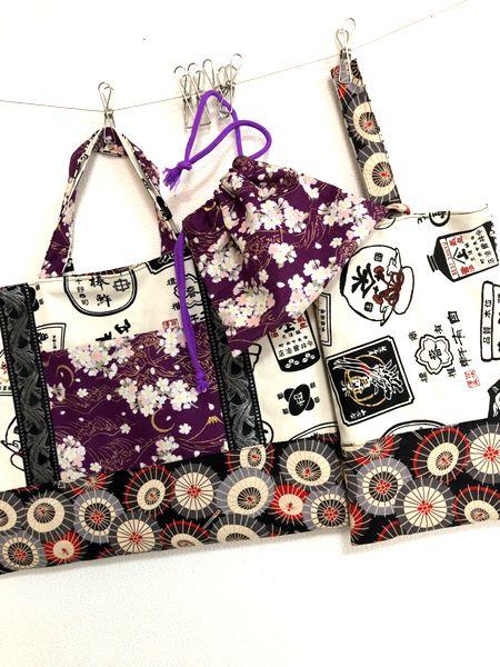 和柄手作り手提げバッグ、シューズケース、着替え袋