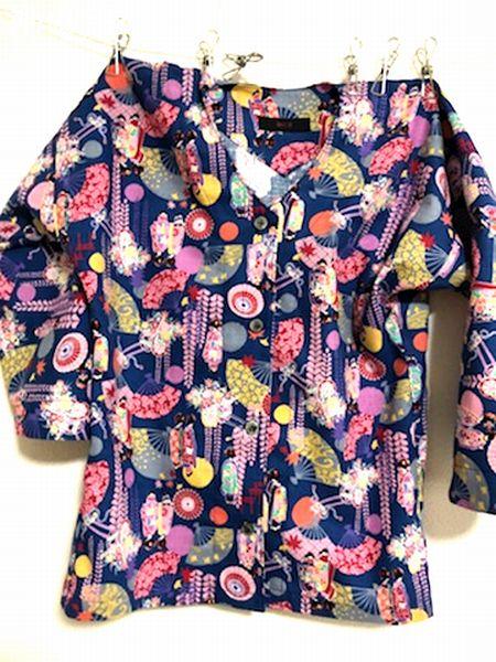 和柄 手作り 鯉口シャツ