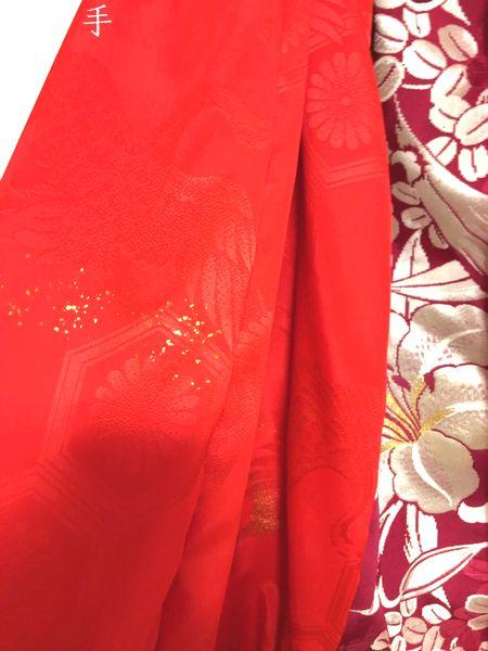 赤にユリ和柄手作り衣装